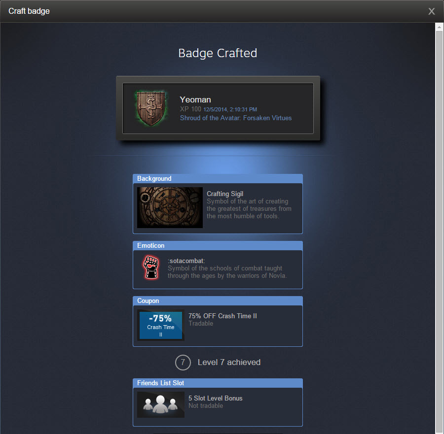Steam trading card drop system