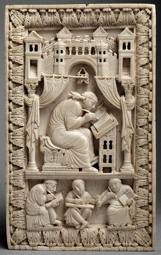 Carolingian carved-ivory relief depicting St Gregory and the scribes